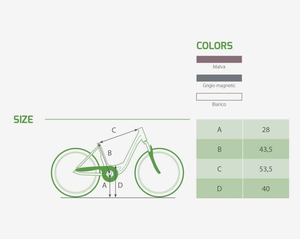 Bici Elettrica Glow Lady - Dati Tecnici