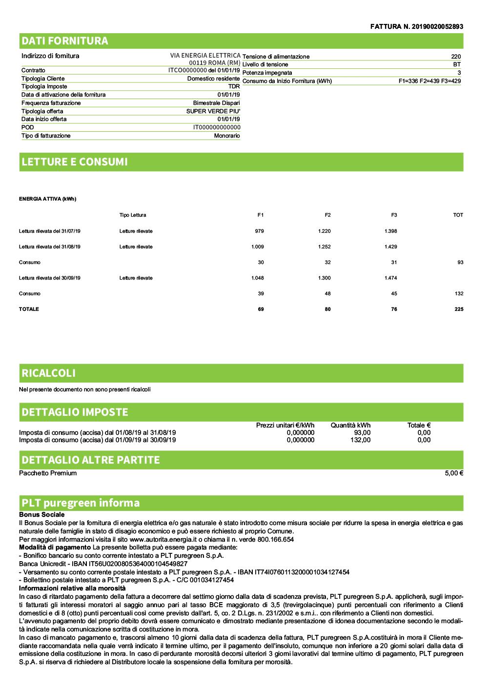 Quadro di dettaglio - Bolletta Energia Elettrica